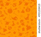 halloween party seamless...   Shutterstock .eps vector #493133413