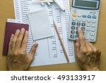 man planning monthly budget ... | Shutterstock . vector #493133917