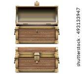 vector empty old chest | Shutterstock .eps vector #493133947