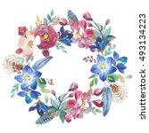 wildflower rose flower wreath... | Shutterstock . vector #493134223