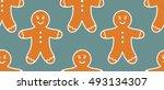 gingerbread man pattern. vector ... | Shutterstock .eps vector #493134307