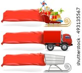 vector transport with banner... | Shutterstock .eps vector #493135567