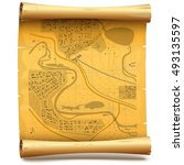 vector paper scroll with map | Shutterstock .eps vector #493135597