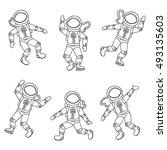 astronauts set. line art... | Shutterstock .eps vector #493135603