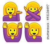 vector emoji girl set isolated...   Shutterstock .eps vector #493136497