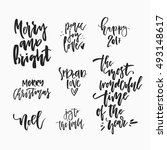 wonderful handwritten christmas ... | Shutterstock .eps vector #493148617