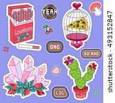 set of patches  stickers ... | Shutterstock .eps vector #493152847