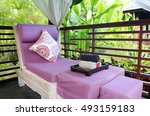 spa massage room in the garden | Shutterstock . vector #493159183