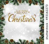 shiny christmas background with ... | Shutterstock .eps vector #493162273