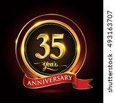 celebrating 35 years... | Shutterstock .eps vector #493163707