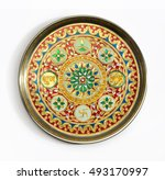 an isolated indian pooja thali  ... | Shutterstock . vector #493170997
