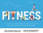 fitness concept illustration of ... | Shutterstock .eps vector #493200097