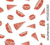 fast food vector seamless... | Shutterstock .eps vector #493203283