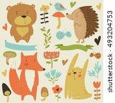 forest animals in cartoon style | Shutterstock .eps vector #493204753
