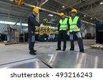 workers working with aluminium... | Shutterstock . vector #493216243