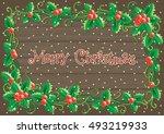 merry christmas card vector... | Shutterstock .eps vector #493219933