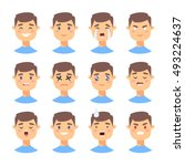 set of male emoji characters.... | Shutterstock .eps vector #493224637