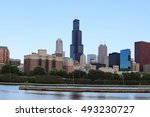 a view of chicago skyline on a... | Shutterstock . vector #493230727
