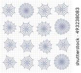 set of spider webs. vector...   Shutterstock .eps vector #493238083