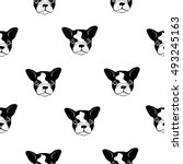 seamless pattern with cute dogs ... | Shutterstock .eps vector #493245163