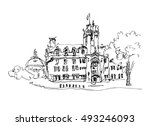 doodle black and white ink... | Shutterstock .eps vector #493246093