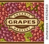 retro grapes harvest label.... | Shutterstock .eps vector #493256413