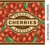 retro cherry harvest label.... | Shutterstock .eps vector #493256443