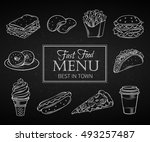 set hand drawn icon fast food... | Shutterstock .eps vector #493257487
