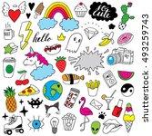 doodle set | Shutterstock .eps vector #493259743