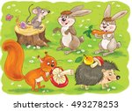 at the zoo. little cute forest... | Shutterstock . vector #493278253
