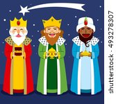three wise men bring presents... | Shutterstock .eps vector #493278307
