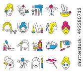 spa  care and beauty icons  set.... | Shutterstock .eps vector #493280713