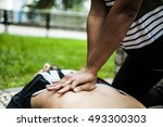 assistance on an unconscious... | Shutterstock . vector #493300303