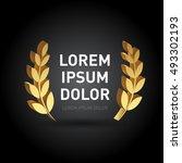 3d dimension gold award laurel... | Shutterstock .eps vector #493302193