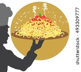 cook silhouette with italian... | Shutterstock .eps vector #493309777