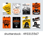 collection of happy halloween... | Shutterstock .eps vector #493315567