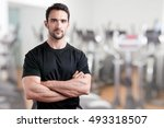 personal trainer with is arms... | Shutterstock . vector #493318507