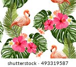 seamless summer tropical... | Shutterstock .eps vector #493319587