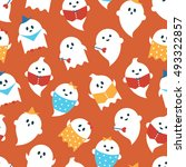 cartoon ghosts halloween... | Shutterstock .eps vector #493322857