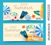 summer vecetion time horizontal ... | Shutterstock .eps vector #493331233