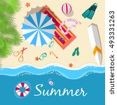 summer vecetion time background ... | Shutterstock .eps vector #493331263