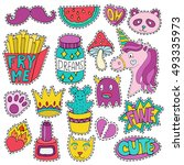 patch badges  pins or sticker... | Shutterstock .eps vector #493335973