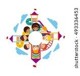 beautiful children playground... | Shutterstock .eps vector #493336453