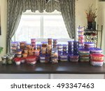 kitchen table filled with... | Shutterstock . vector #493347463