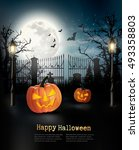 halloween spooky background.... | Shutterstock .eps vector #493358803