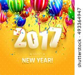 happy new year 2017   greeting... | Shutterstock .eps vector #493364947