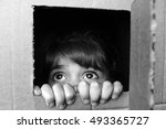 face of afraid little girl... | Shutterstock . vector #493365727
