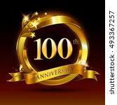 100th golden anniversary logo ... | Shutterstock .eps vector #493367257