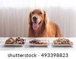golden retriever and its food | Shutterstock . vector #493398823