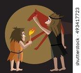primitive art origins cartoon... | Shutterstock .eps vector #493417723